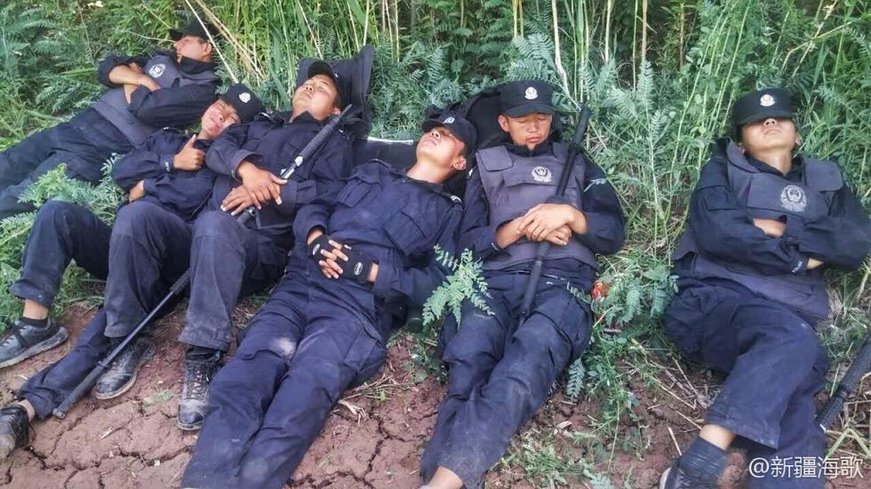 执行任务间隙,新疆民警熟睡在田间地头。