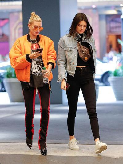 时尚达人街拍造型示范 肯达尔海莉街头秀逆天长腿