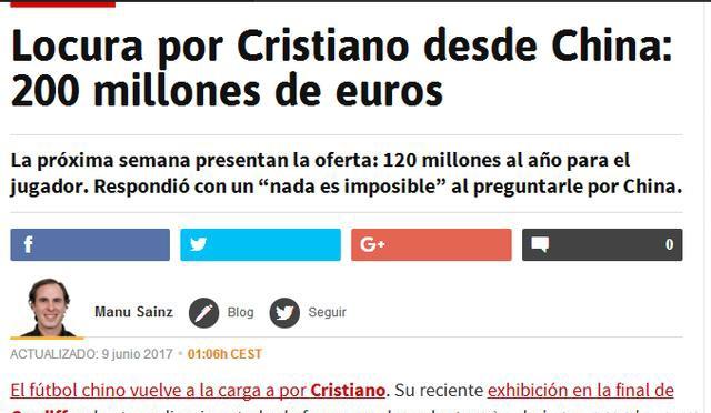 西媒称中超疯狂求购C罗 为C罗提供1.2亿欧元的年薪