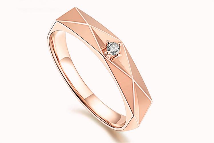 潮宏基珠宝恒爱系列红18k金钻石戒指_珠宝图片
