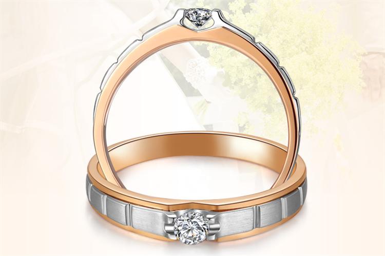 百泰黄金双色18K金钻戒情侣对戒求婚订婚结婚戒指_珠宝图片