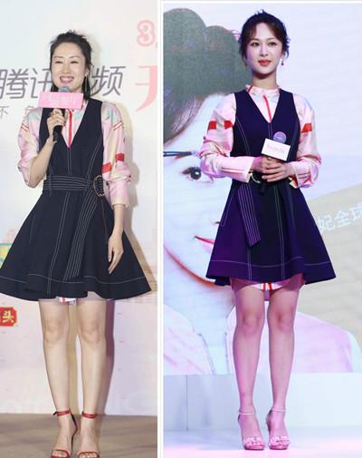 杨紫与关关妈隔空撞衫 同穿少女裙谁更粉嫩