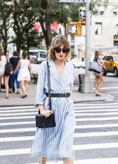 欧美达人夏季街拍示范 衬衫裙这么穿轻松瘦五斤