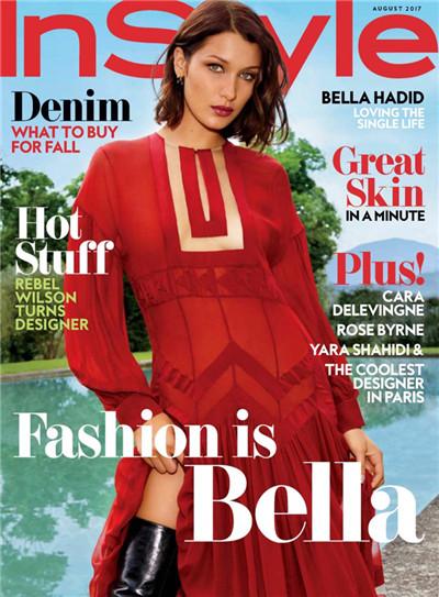 超模Bella Hadid登上《InStyle》杂志8月号封面