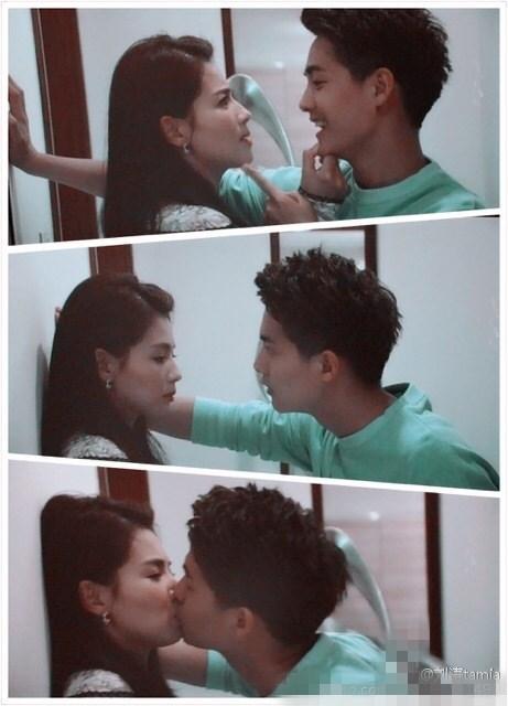 刘涛也曾发过一张和马天宇的剧照。照片里马天宇先是壁咚刘涛,然后毅然决然吻在了一起。