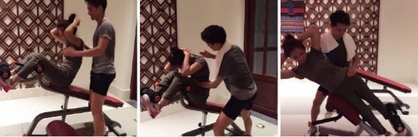 随后网友翻出了前两年刘涛在微博发的和马天宇健身房亲密合照。