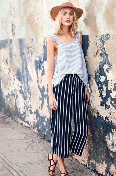 夏天穿衣搭配造型示范 一条阔腿裤时尚又舒适