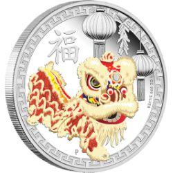 澳大利亚发行的中国舞狮彩色银币再现中国舞狮的意境