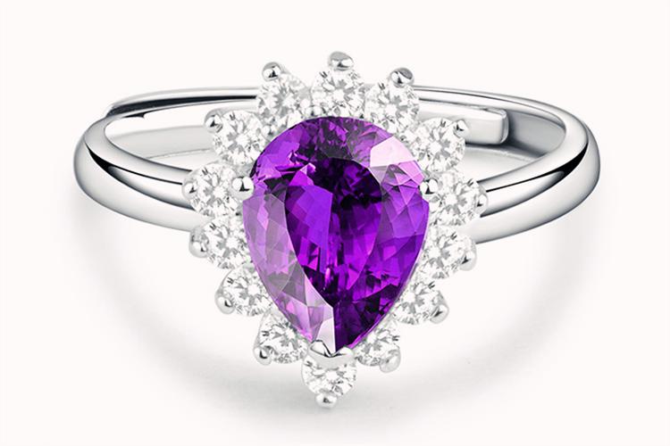 老庙黄金925银合成立方氧化锆水滴紫色锆石活口戒指_珠宝图片