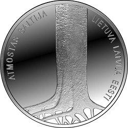 波罗的海之路25周年彩色纪念银币 和平示威独立自主