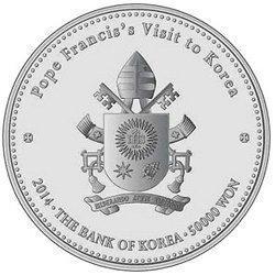 韩国2014年发行的纪念银币是为纪念佛兰西斯教皇访问韩国
