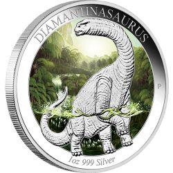 澳大利亚恐龙时代彩银币 为纪念迪亚曼蒂纳龙