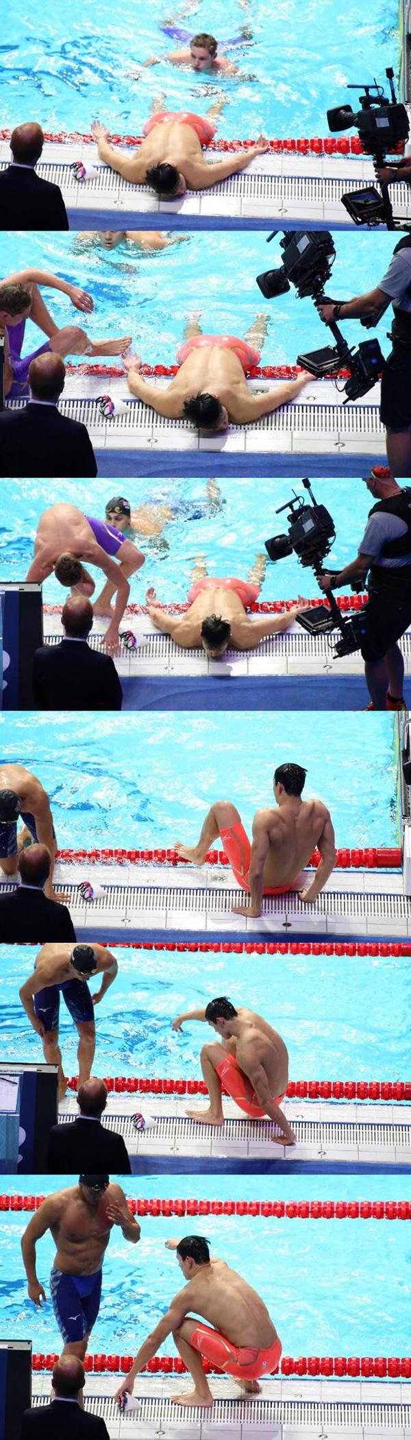 徐嘉余摘仰泳金牌 孙杨200米夺冠因太累趴在泳池边让人心疼