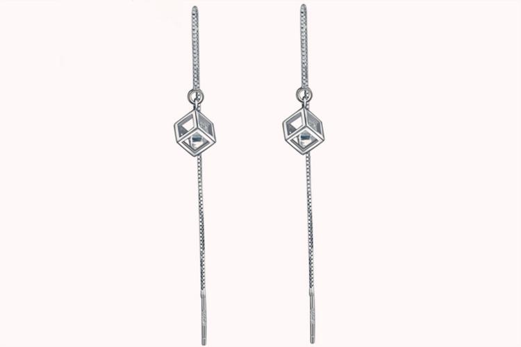 老庙黄金S925银合成立方氧化锆耳饰方框耳线耳环_珠宝图片