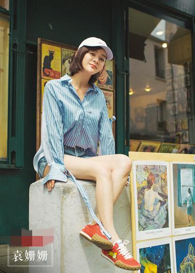 袁姗姗街拍造型示范 一顶棒球帽随时随地freestyle