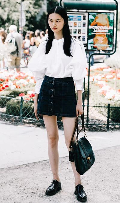 欧美达人街拍造型示范 迷你裙轻松穿出大长腿