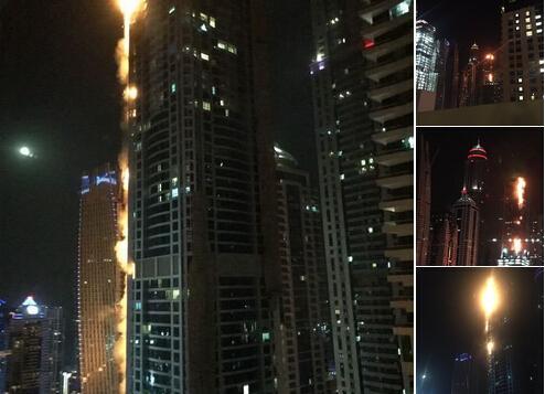 迪拜火炬大厦火灾 火情起源于第65层且迅速蔓延