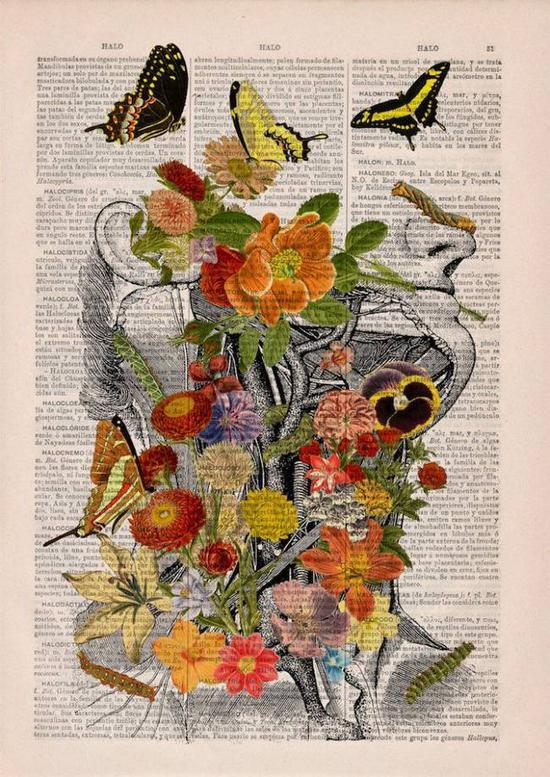 以古董、古旧字典、书籍做为画布,将一幅幅画作为原本已无用的书页重新利用,变成美不胜收的艺术。