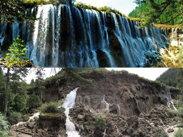 九寨沟多处景点面目全非 昔日的诺日朗瀑布美景如今已不复存在