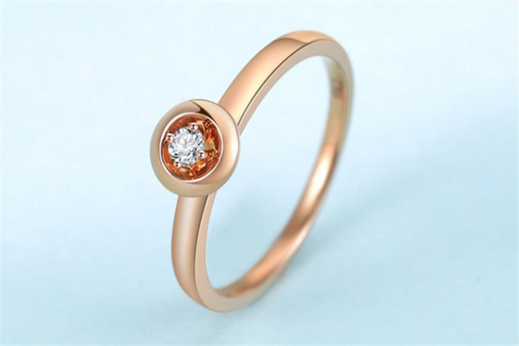 潮宏基珠宝尽是爱红18k金玫瑰金钻石戒指_珠宝图片