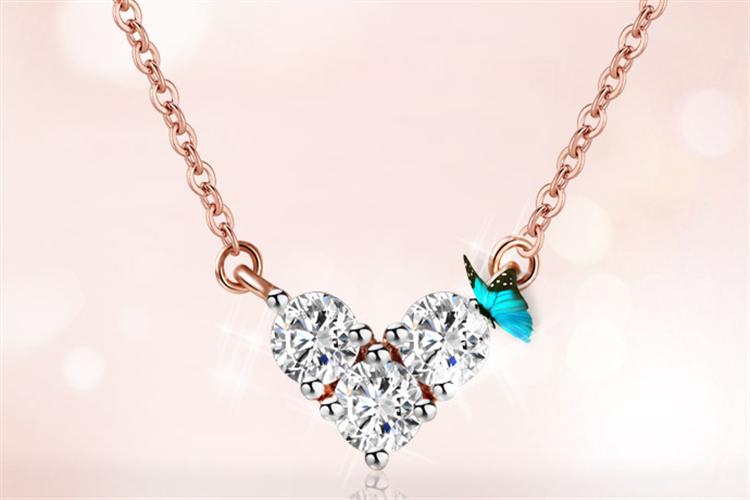 潮宏基珠宝心缘18k金彩金套链玫瑰金钻石吊坠项链_珠宝图片