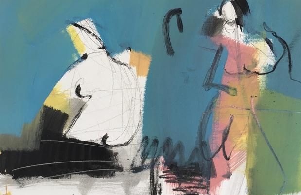 Jens Kilian 彩色空间中的人物 (1) 52 x 70 cm 纸上蛋彩 2017
