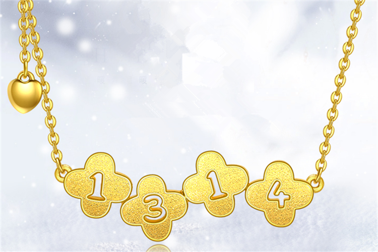 潮宏基珠宝幸运承诺黄金吊坠项链足金字母套链_珠宝图片