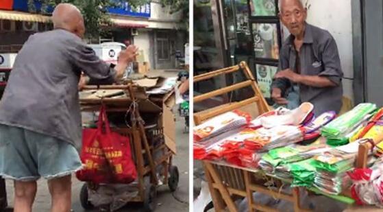 107岁老人卖鞋垫成网红 摆摊得到众人帮助