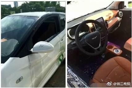 女子被困共享汽车30多分钟 民警砸玻璃窗救人