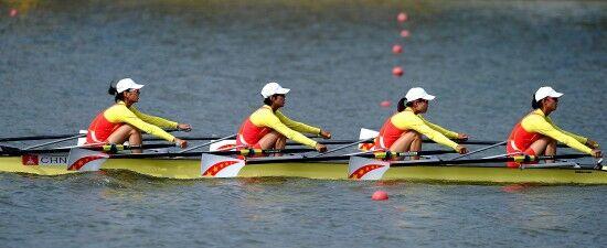 天津全运会开幕后首金产生 四川队夺得女子轻量级四人双桨第一名