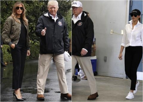 美第一夫人视察灾区穿着惹争议 挖苦穿着太过时尚与此行目的不搭
