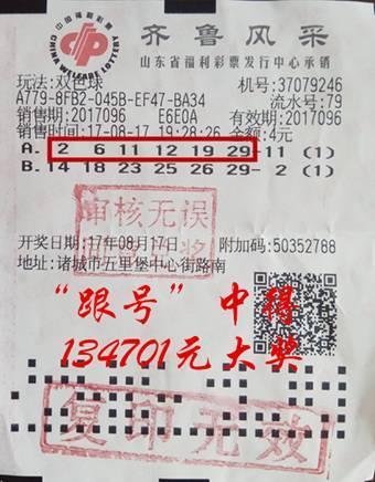 彩友守号5年斩获双色球二等奖