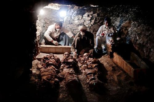 埃及发现古墓 墓中发现了木乃伊和雕像陶罐等文物