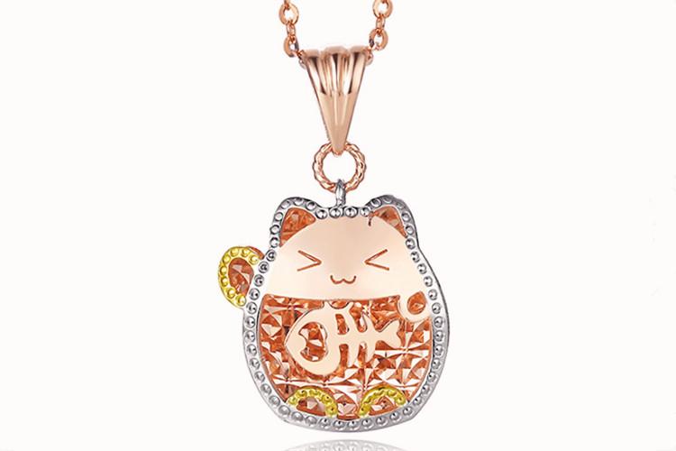 周大生珠宝18K玫瑰金彩金可爱风猫咪吊坠项链_珠宝图片