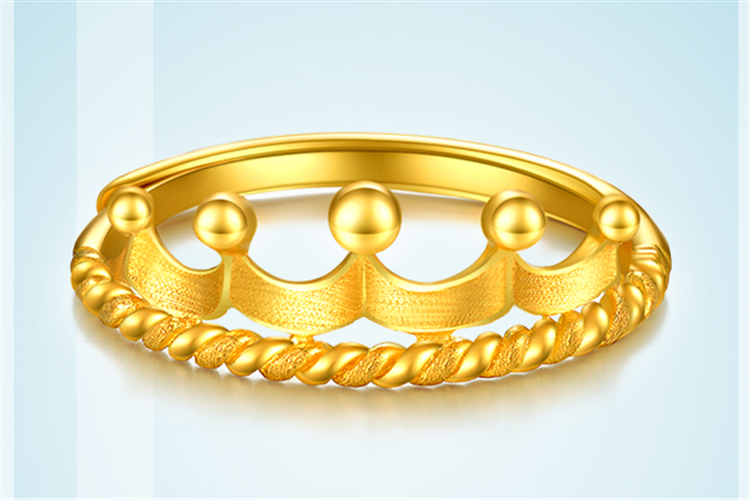 周大生珠宝为爱加冕系列皇冠黄金足金活口指环戒指_珠宝图片