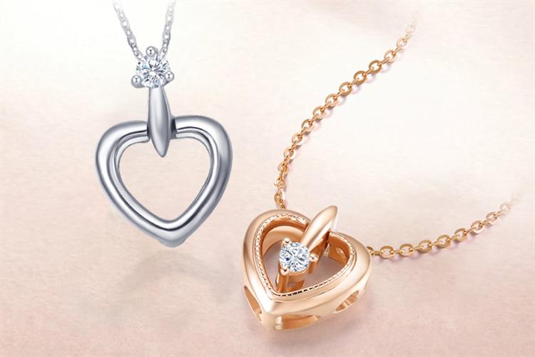 周大生珠宝一款多戴18k金/彩金钻石项链吊坠挂坠_珠宝图片