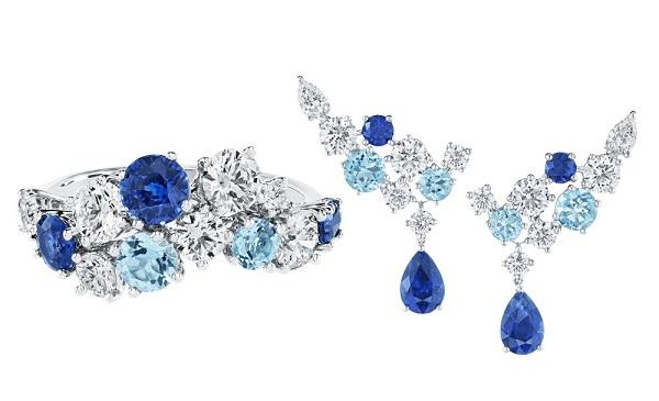 海瑞温斯顿推出Sparkling Cluster系列宝石珠宝新作:蓝色星辰