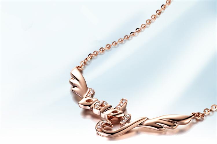 周大生珠宝Angelababy订制款18K彩金群镶钻石项链_珠宝图片