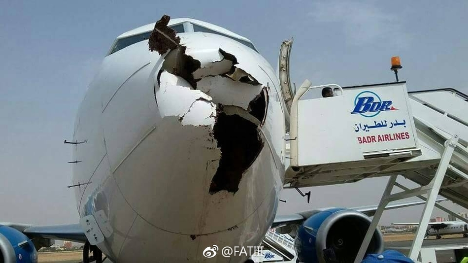 客机遭遇鸟击 飞机机鼻整流罩被击穿