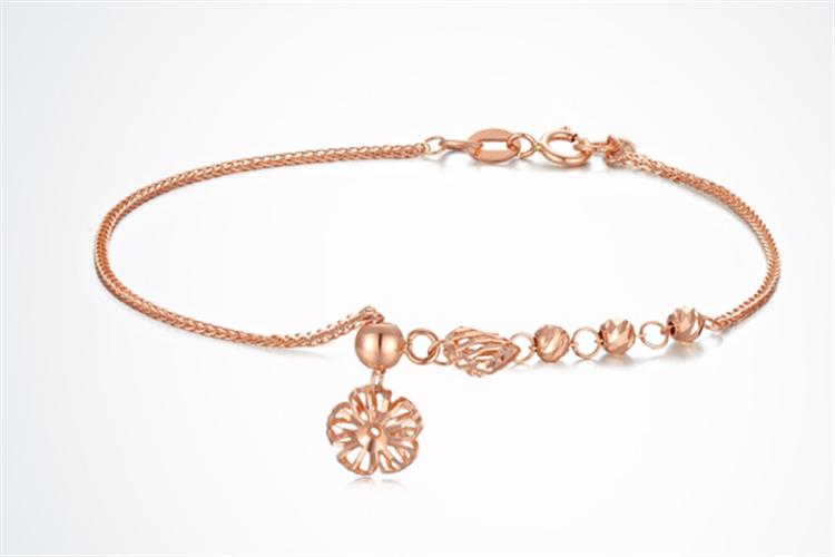 周大生珠宝18K金玫瑰金可调节彩金手链_珠宝图片