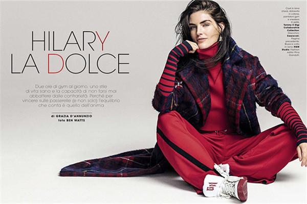 超模Hilary Rhoda登上《Glamour》杂志意大利版封面