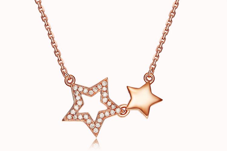 潮宏基珠宝双子星红18k金钻石坠链玫瑰金锁骨链项链_珠宝图片