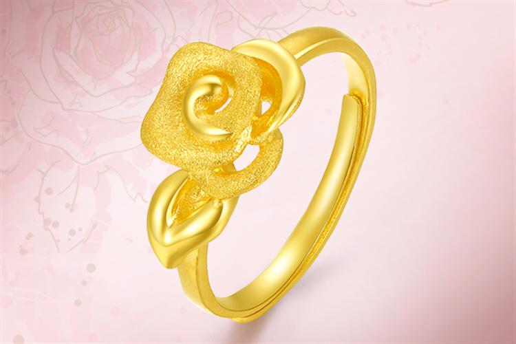 周大生珠宝花漾系列黄金足金玫瑰花型戒指指环_珠宝图片