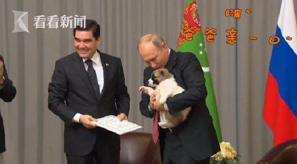 土总统赠普京萌犬 怀抱小狗的他难掩满脸幸福
