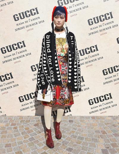 李宇春佩戴Gucci腕表首饰亮相米兰时装周活动现场