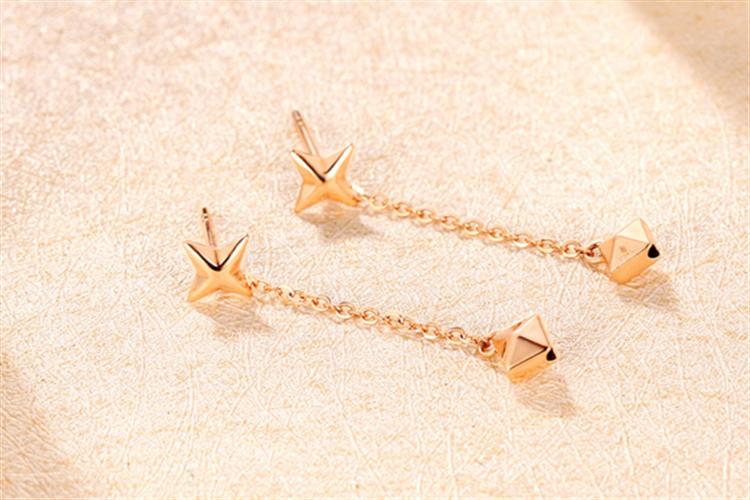 潮宏基珠宝穿梭18k金耳钉耳线玫瑰金彩金耳环_珠宝图片