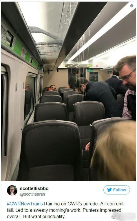 日本制造又遇尴尬 英国GWR高铁车内空调突然严重漏水