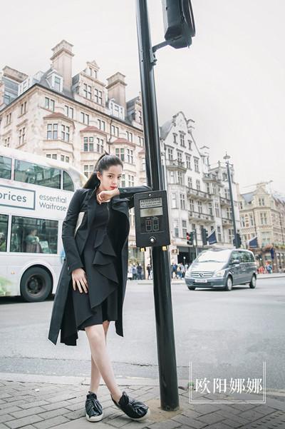 欧阳娜娜最新街拍示范 遥相呼应的荷叶边你喜欢吗?