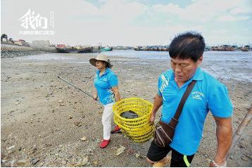 7旬老夫妻海滩捡垃圾 从2人到240人3年累计清理海滩垃圾740吨
