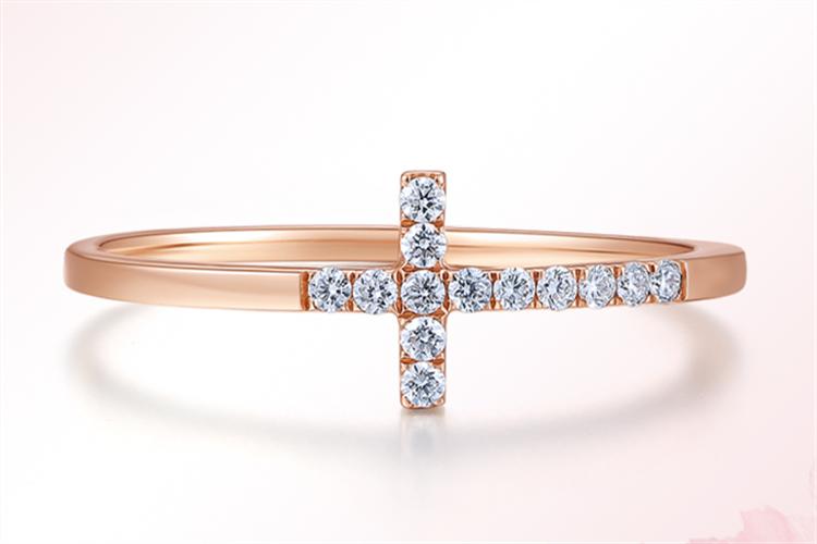 周大生珠宝信仰18K金钻石女戒玫瑰金结婚求婚戒指_珠宝图片
